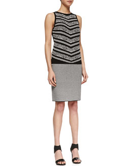 Carmen by Carmen Marc Valvo Sleeveless Birdseye Print Sweater & Fine-Checkered Pencil Skirt