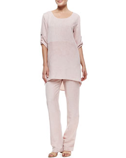 Caroline Rose Tumbled-Texture High-Low Tunic & Flat-Front Pants, Petite