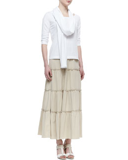 Joan Vass 3/4-Sleeve Cotton Top, Tiered Peasant Jersey Skirt & Cotton Interlock Ribbed Scarf, Petite