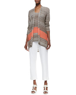 Joan Vass Serape Striped Long Cardigan, Knit Tank & Slim Ponte Ankle Pants, Petite