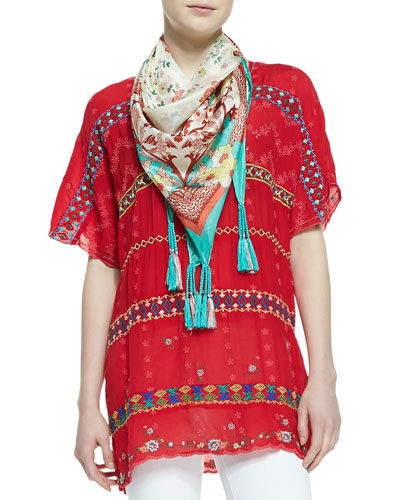 Johnny Was Collection Colorful Daisy Eyelet Blouse & Printed Silk Georgette Scarf