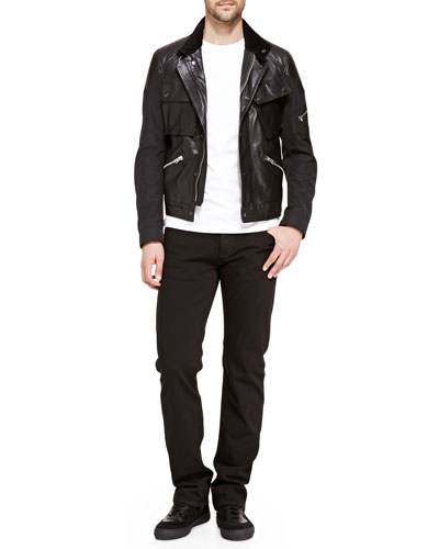 Leather/Nylon Biker Jacket & Black Denim Jeans