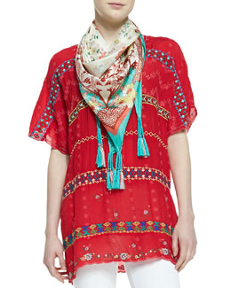 Johnny Was Collection Colorful Daisy Eyelet Blouse & Printed Silk Georgette Scarf, Women's