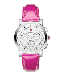 MICHELE Sport Sail Stainless Watch Head & Pink 20mm Leather Watch Strap
