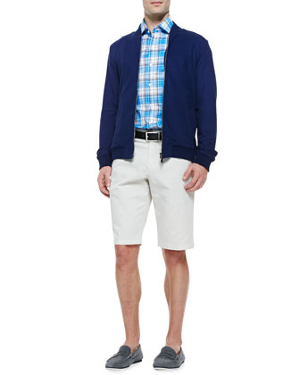 Cotton/Silk Baseball jacket, Plaid Button-Down Shirt & Flat-Front Chino Shorts