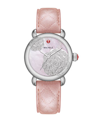 Limited Edition CSX Jardin Diamond Dial Watch Head & 18mm Pearl Quilted ...