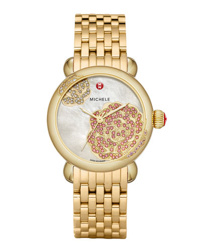 MICHELE Limited Edition CSX Jardin Gold Diamond-Dial Watch Head & CSX-36 18mm Gold  Bracelet Strap