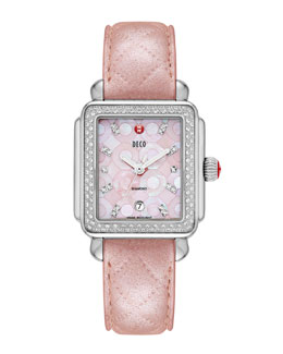 MICHELE Pink Deco Diamond Mosaic Stainless Steel Watch Head & 18mm Pearl Quilted Leather Watch Strap