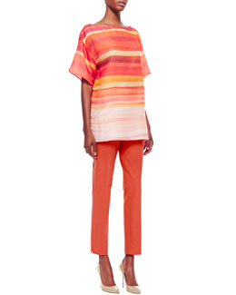 Lafayette 148 New York Jaelyn Ombre Striped Top & Bleecker Slim Cropped Pants