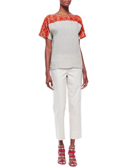 Lafayette 148 New York Layton Short-Sleeve Embroidered Top and Cropped Bleecker Pants