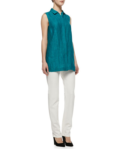 Lafayette 148 New York Senara Sleeveless Linen Blouse & Curvy Slim Jeans