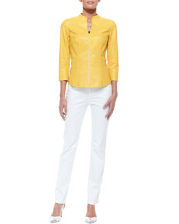 Lafayette 148 New York 3/4-Sleeve Zip-Front Shirt Jacket & Curvy Slim Jeans