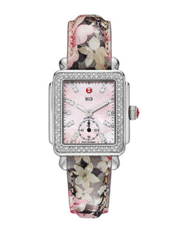 MICHELE Deco 16 Diamond Stainless Steel Watch Head & 16mm Floral Leather Watch Strap