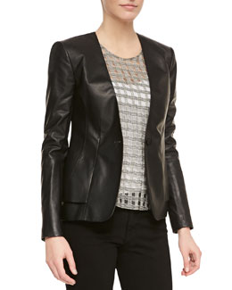 Theory Easel Kltnna Lambskin Blazer & Filleo Bringa Crepe High-Low Top