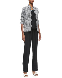 Caroline Rose Basketweave 3/4-Sleeve Boxy Jacket, Travel Linen Tank & Straight-Leg Pants