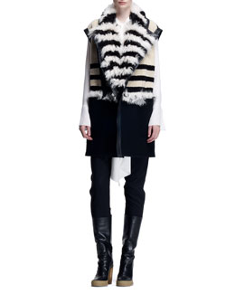 Chloe Striped Shearling Long Vest, Long-Sleeve Tie-Neck Blouse & Stretch Wool Canvas Pants