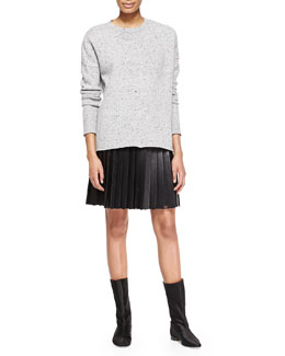 Adam Lippes Boxy Melange Crew Sweater and Pleated Sheer-Panel Leather Skirt