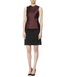 Alexander Wang Sateen Fringe-Back Shell and Zip-Pocket Pencil Skirt