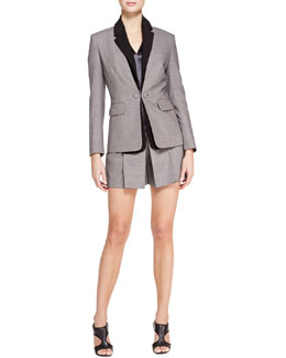 Alexander Wang Blazer with Detachable Collar, Satin V-Neck Shell & Pleat-Front Suiting Shorts