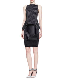 Alexander Wang Mixed-Pinstripe Peplum Tank and Slim Skirt