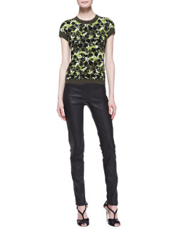 Carolina Herrera Octagon Cashmere Short-Sleeve Sweater & Skinny Leather Pants