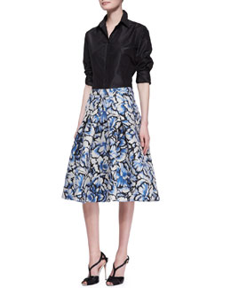Carolina Herrera Classic Silk Taffeta Blouse & Flared Feather Floral Skirt