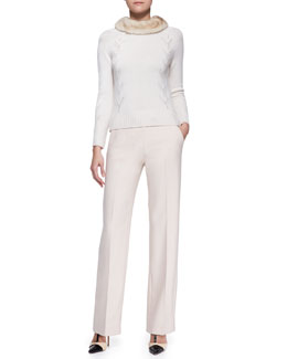Carolina Herrera Cashmere Sweater with Mink Fur Collar and Side-Zip Wide-Leg Pants