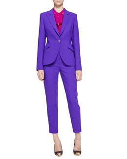 Escada Long-Sleeve Wool Blazer, Long-Sleeve Ruffle-Neck Blouse & Cropped Pants