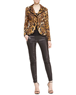 Escada Long-Sleeve Leopard-Print Blazer, Scoop-Neck Sleeveless Tank Top & Skinny Leather Pants
