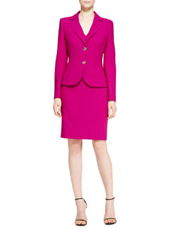 Escada Vertical Welt Two-Button Blazer & V-Neck Dress