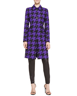 Escada Long-Sleeve Houndstooth Coat & Skinny Leather Pants