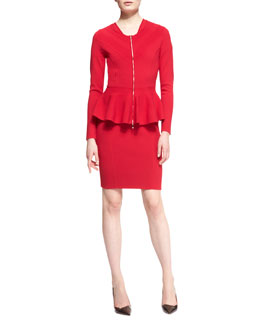 Escada Peplum Zipper Jacket & Cap-Sleeve V-Neck Dress