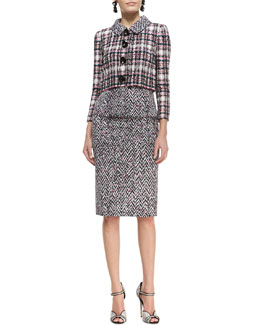 Oscar de la Renta Four-Button Cropped Tweed Jacket and Midi Tweed Pencil Skirt