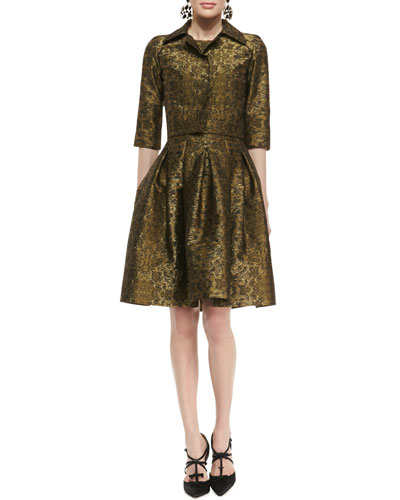 Oscar de la Renta 3/4-Sleeve Cropped Brocade Jacket and Pleated A-Line Brocade Dress