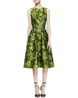 Oscar de la Renta Sleeveless Darted Brocade Dress and Satin Ornament-Buckle Belt