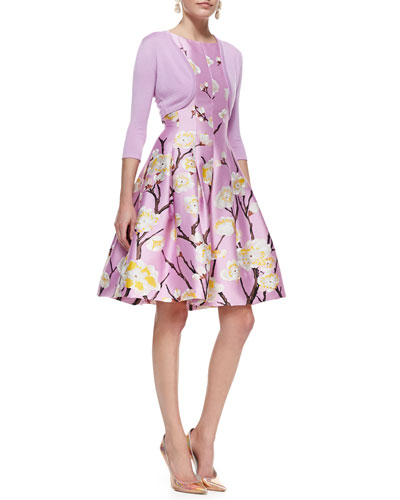 Oscar de la Renta Cashmere-Silk Shrug & Sleeveless Seamed A-Line Floral Dress