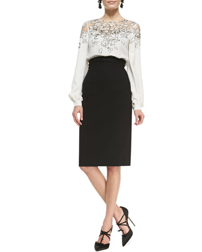 Oscar de la Renta Lace-Embellished Silk Top and Wrapped-Waist Midi Skirt