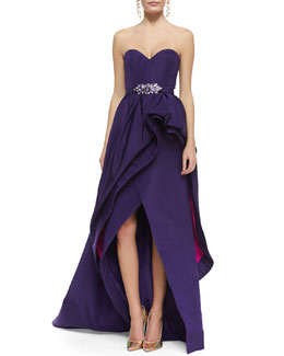 Oscar de la Renta Strapless Tiered Bustle Gown and Crystal-Buckle Ribbon Belt