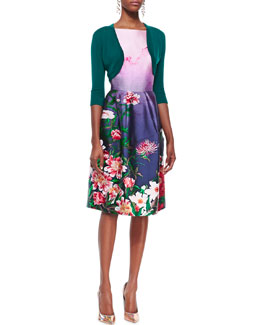 Oscar de la Renta 3/4-Sleeve Cropped Bolero and Sleeveless Floral-Bottom Dress