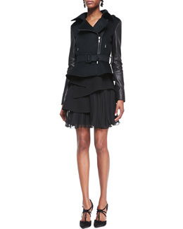Oscar de la Renta Leather-Sleeve Moto Jacket & Pleated Chiffon Skirt
