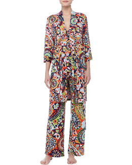 Josie Hollywood Boho Print Short Wrap & Cami PJs