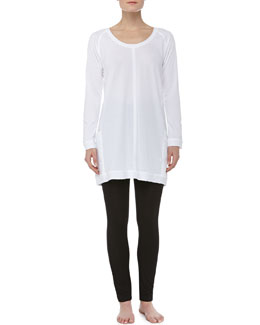 Donna Karan Long-Sleeve Soft Jersey Sleepshirt & Liquid Jersey Basic Leggings