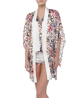 Else Lingerie Botanical Garden Sleeveless Trimmed Satin Top, Shorts & Silk Kimono Robe