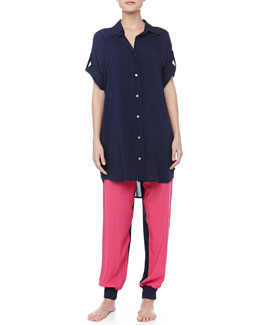 Josie Bank Chic Tab-Sleeve Sleepshirt & Colorblocked Cropped Pants