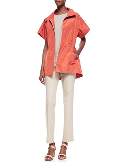 Lafayette 148 New York Wendy Short-Sleeve Topper, Matte Crepe Shell & Bleecker Pants