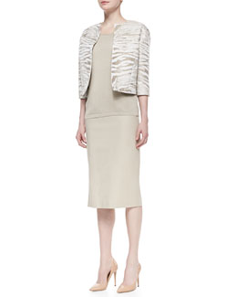 Lafayette 148 New York Amity Metallic Jacquard Cropped Jacket, Scoop-Neck Knit Tank & Dayna Over-the-Knee Skirt with Side Slit