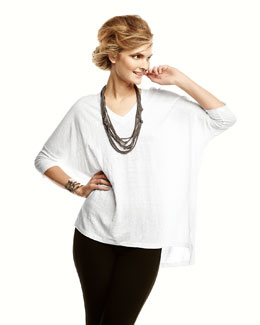 Eileen Fisher Drapey Metallic Necklace, Linen V-Neck Boxy Tunic & Stretch-Creme Ankle Pants