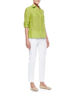 Lafayette 148 New York Celestine 3/4-Sleeve Linen Blouse & Metro Stretch Bleecker Cropped Pants