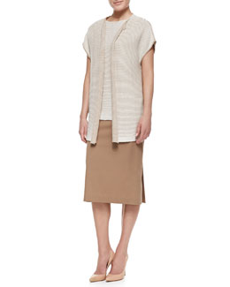 Lafayette 148 New York Short-Sleeve Oversized Open-Front Cardigan, Two-Tone Stripe-Knit Bateau-Neck Shell & Pracilla Over-the-Knee Pencil Skirt