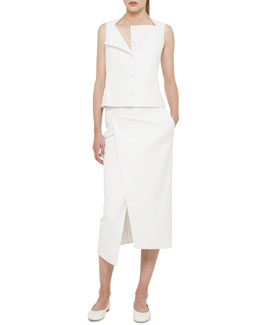 Akris Double-Face Stretch Gilet & Wrap Skirt